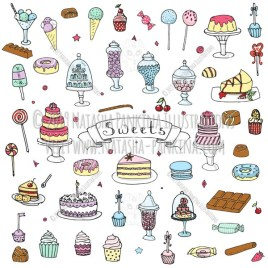 Sweets. Hand Drawn Doodle Sweet Food Colorful Icons Collection. - Natasha Pankina Illustrations