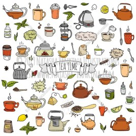 Tea time. Hand Drawn Doodle Hot Drink Colorful Icons Collection. - Natasha Pankina Illustrations