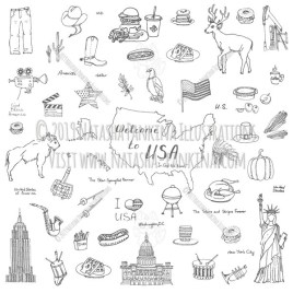Welcome to the USA. Hand Drawn Doodle American Icons Collection. - Natasha Pankina Illustrations