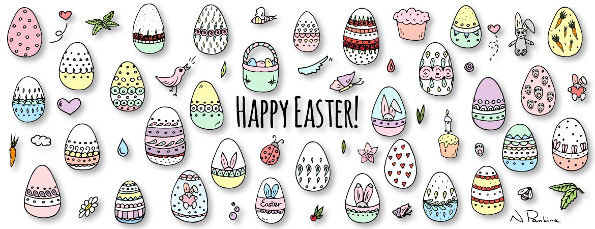 description: Hand drawn doodle Happy Easter icons set. Vector illustration. Spring bunny symbols collection. Cartoon decoration elements: egg, rabbit, basket, bird, carrot, butterfly, bunny footprint, hunting eggs, hearts.  keywords: design element, doodle, freehand drawing, hand drawn, icon set, illustration, outlined, sketch, symbol, vector, vector elements, icon collection, object, isolated, graphic design, poster, food, template, creative, banner, background, mockups, identity corporate, concept, decorative, detailed, flyer, easter, easter eggs, happy, hunt, bunny, kids, rabbit, basket, colorful, pastel colors, vintage, ornamental, sale, day, greetings, celebration, chocolate, cute, lettering, ribbon, spring, natasha pankina, holiday, holidays  illustrator: Natasha Pankina Natasha Pankina