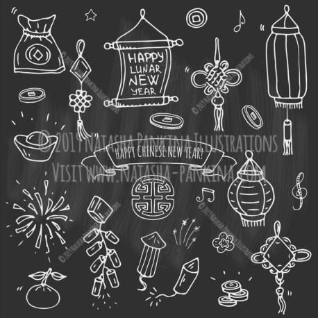 Chinese New Year. Hand Drawn Doodle Chinese Icons Set. Chalkboard style. - Natasha Pankina Illustrations