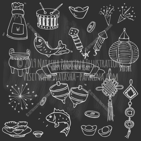Chinese New Year. Hand Drawn Doodle Chinese Icons Set. Chalkboard style. - Natasha Pankina Illustrations