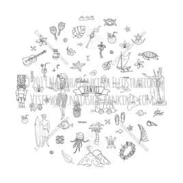 Hawaii. Hand Drawn Doodle USA State Icons Collection. Round shape. Circle shaped. - Natasha Pankina Illustrations