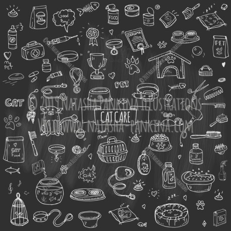 Pet. Cat Care. Hand Drawn Doodle Vet Icons Collection. Chalkboard style. - Natasha Pankina Illustrations
