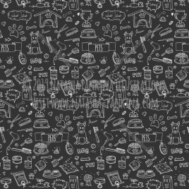 Pet. Hand Drawn Doodle Vet Icons Collection. Seamless background. Unseamed pattern. Chalkboard style. - Natasha Pankina Illustrations