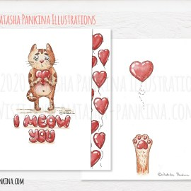 "description: Hand drawn cute kitty with heart and sign ""I meow you"", made using raw materials: watercolor paint, pencil. Lovely Valentine's Day illustration keywords: watercolor, cat, kitty, valentine's day, cute, hand drawn, meow, heart, card, love, mother's day, i love you, drawing, illustration, watercolour, character, happy, white, cartoon, heart, present, gift, funny, concept, cute, design, design element, doodle, freehand drawing, graphic, hand drawn, happy valentines day, icon collection, icon set, illustration, outlined, romantic, sign, sketch, symbol, texture, valentine, valentine's day, i meow you, lovely, graphic design, raw materials, pencil, colorful illustrator: Natasha Pankina Natasha Pankinahttps://store.natasha-pankina.com/copyright-notice-per-image-metadata/"