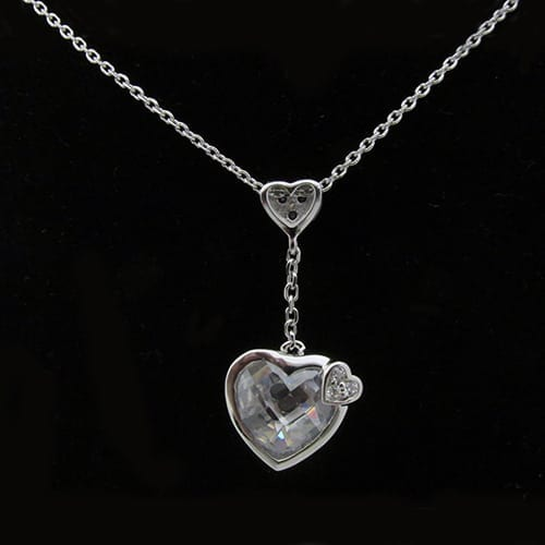 Crystal Drop Heart Necklace