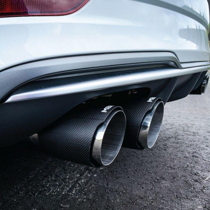 mbrp audi 8v s3 3 quad split rear exit cat back exhaust with valve delete carbon fiber tips