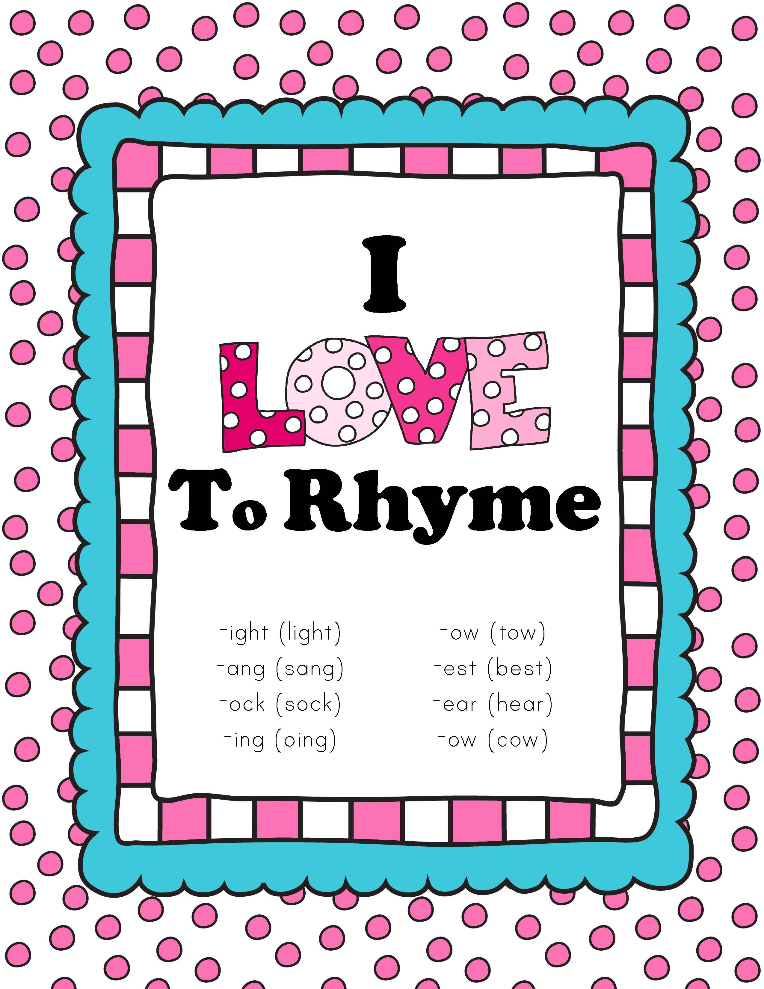 I Love To Rhyme Read And Sort