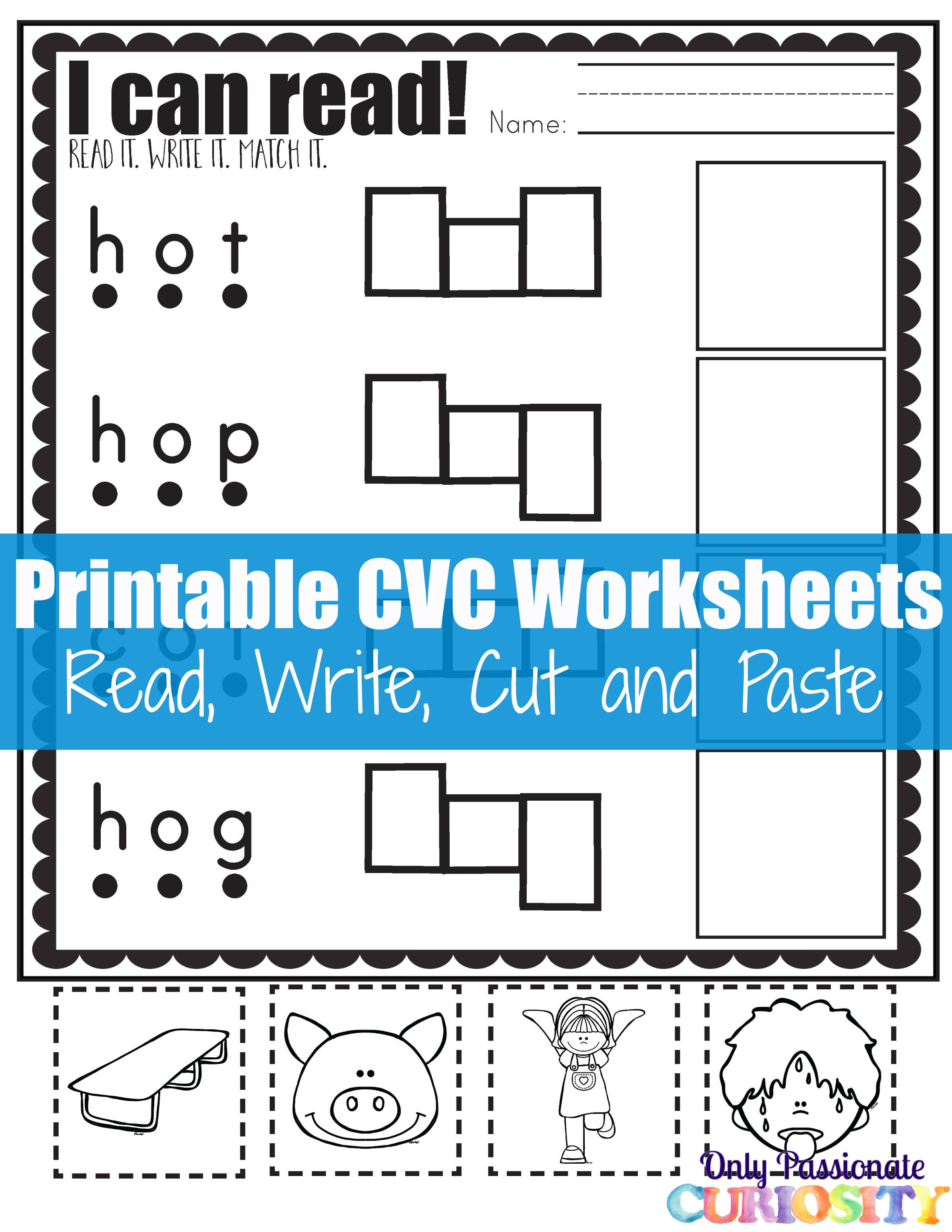 Cvc Worksheets Cut And Paste Letter O