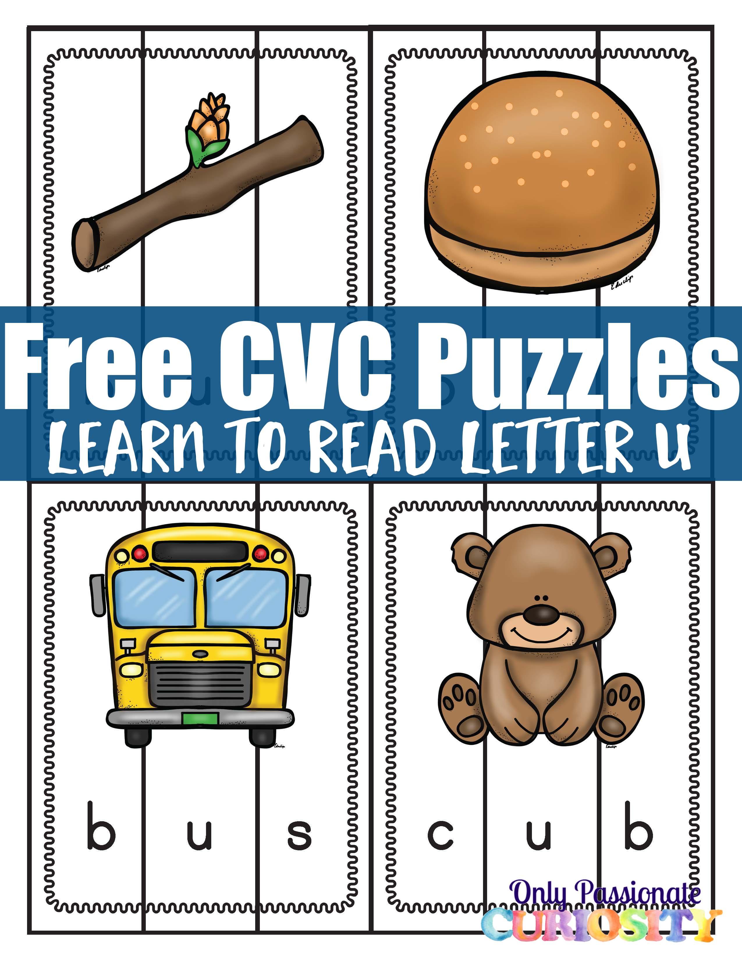 Cvc Puzzles Middle Letter U