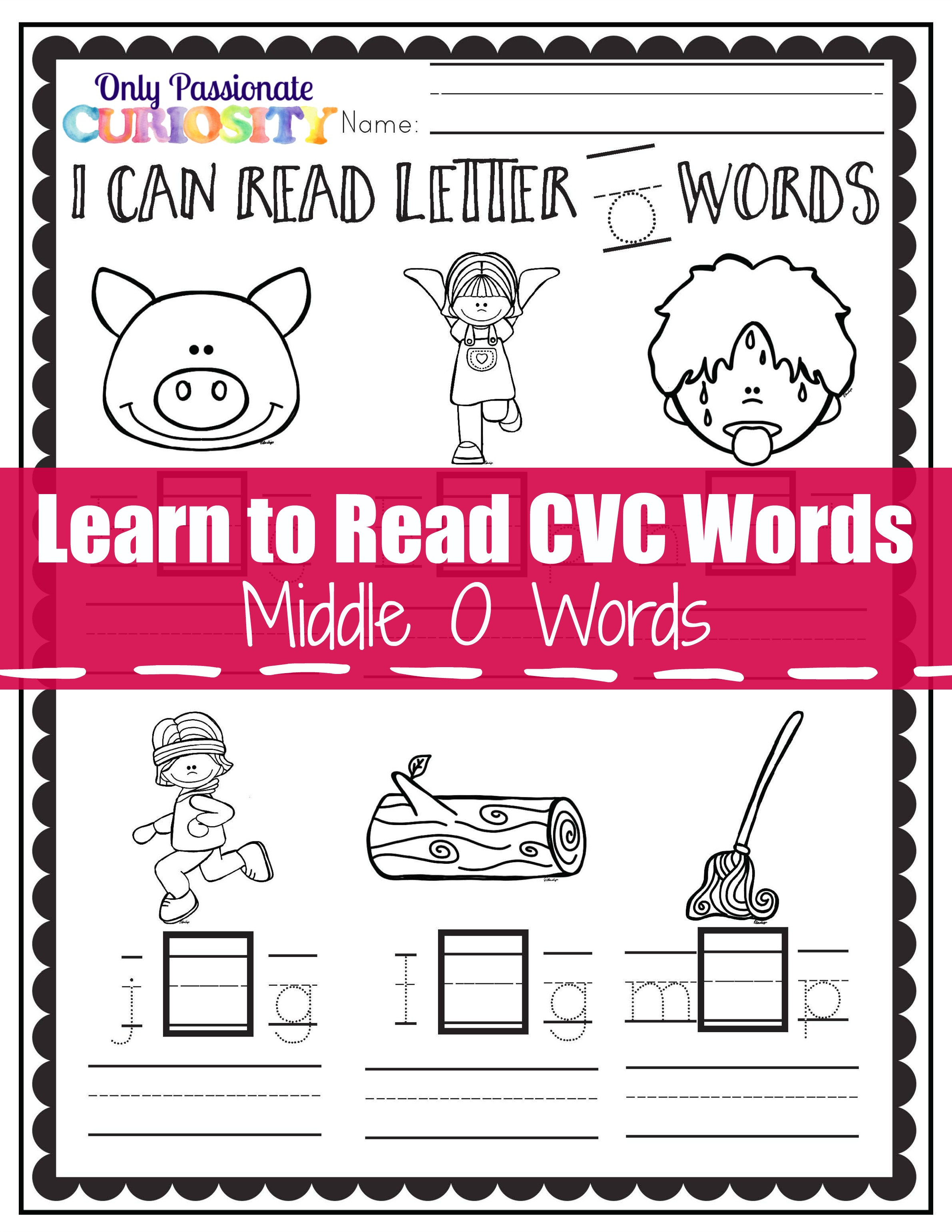 I Can Read Cvc Words Middle O See And Write