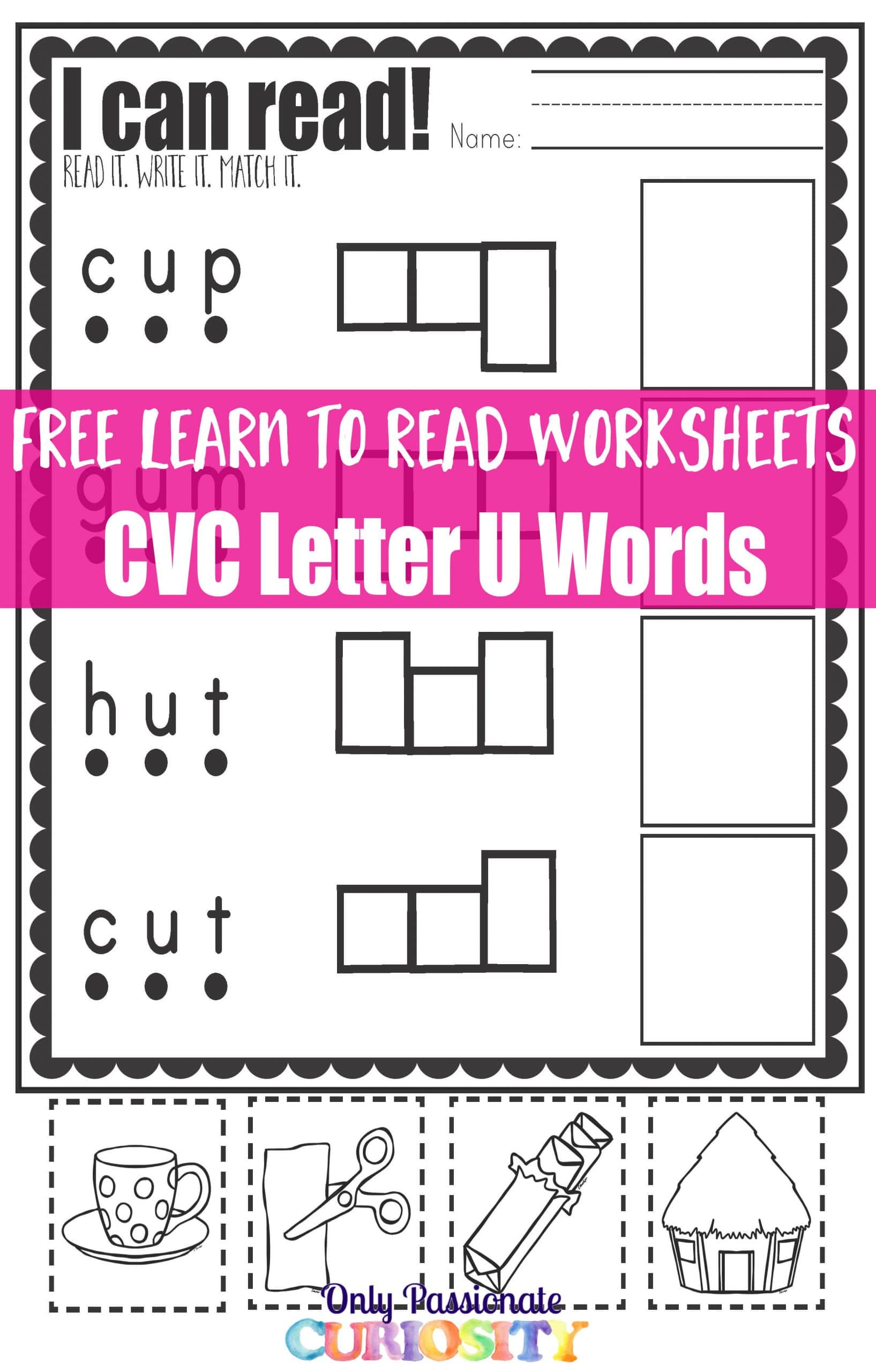 Cvc Worksheets Cut And Paste Letter U