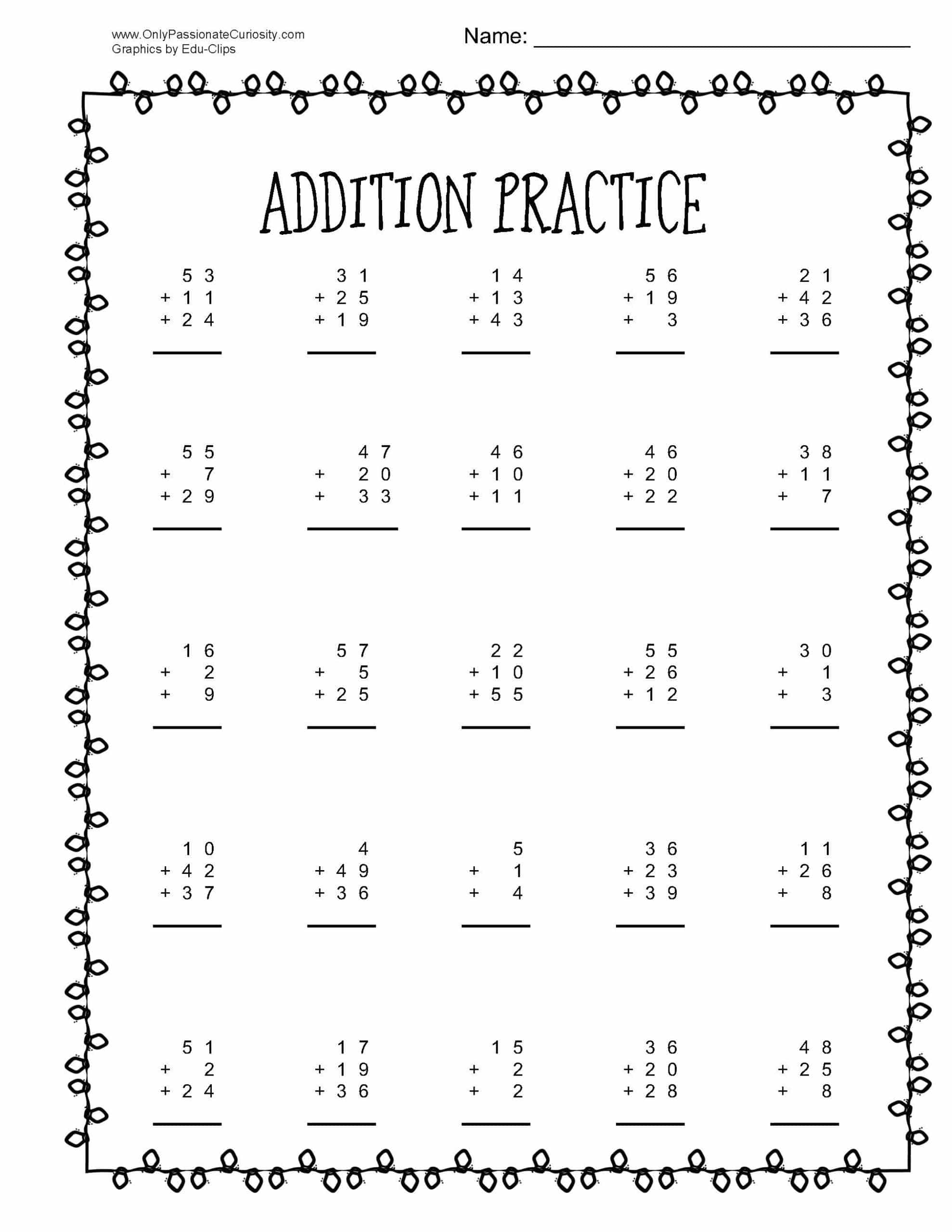 Christmas Math Practice Addition And Subtraction With 3