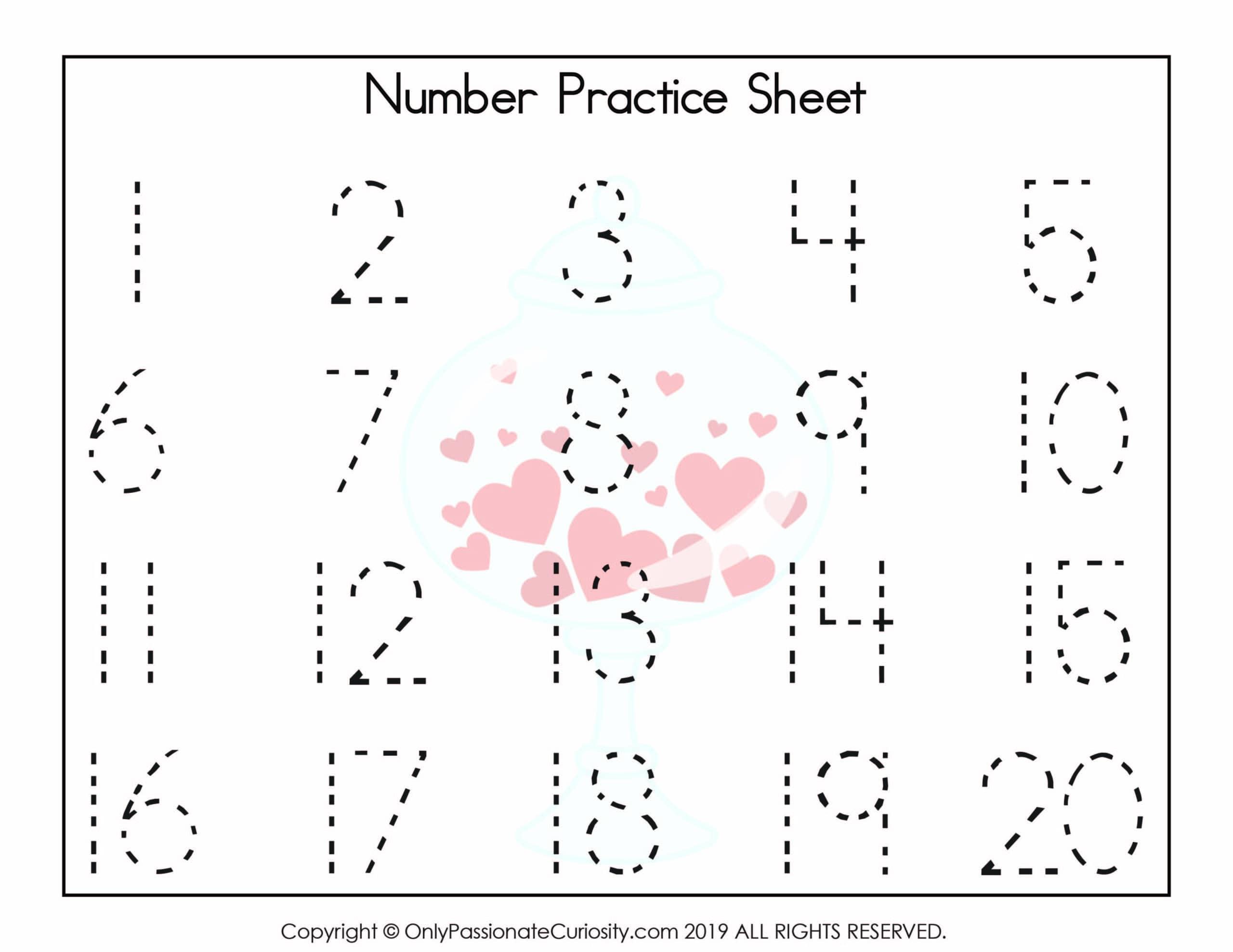 Valentine Numbers Hearts 1 20