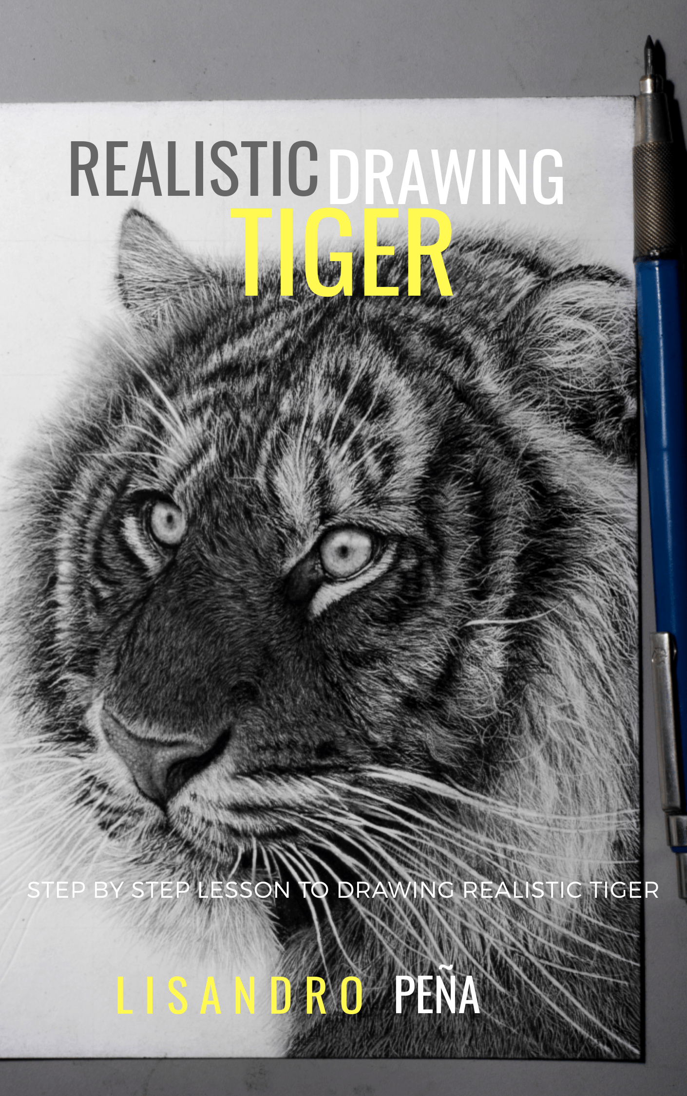 In this intensive 130 page lesson i go over step by step how to draw this realistic tiger