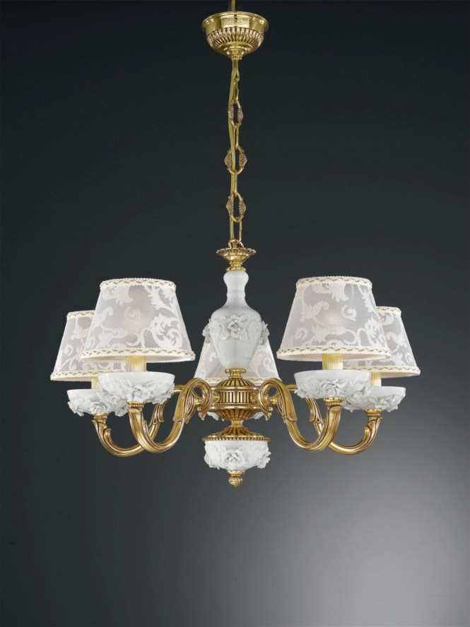 5 Lights Golden Brass And White Porcelain Chandelier With Lamp Shades