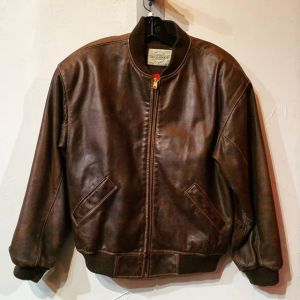 SEQUENCE Leather Bomber JACKET 22537 ( Size Med m 42 )