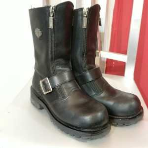 HARLEY DAVIDSON Leather Double Zip BOOTS   24658