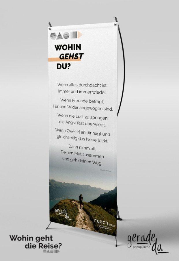 Banner: Wohin gehst Du? (geradeda popupkirche)