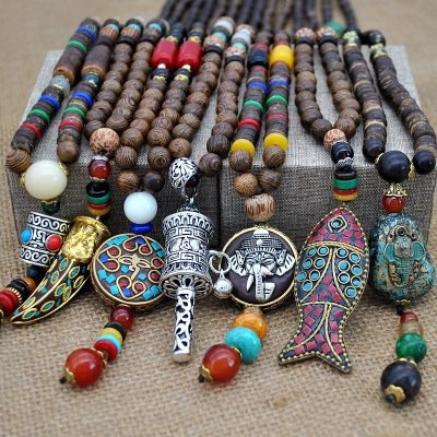 Yumfeel Handmade Necklace Buddhist Mala Wood Bead Pendant