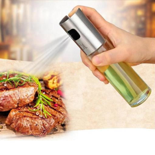 Glass oil spray bottle with Stainless Steel lid