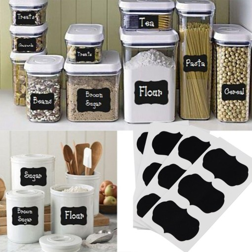 Kitchen jars with blackboard sticker