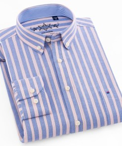 Plaid Men's Oxford Shirt Long Sleeve