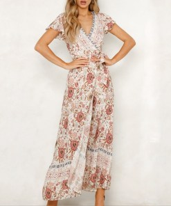Womens floral Boho Wrap Dress