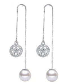 Crystal and pearl earrings