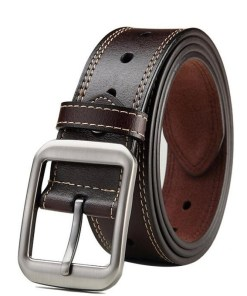 Mens Leather Belt Metal Buckle
