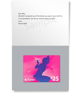iTunes Gift Card - Silhouette - $25