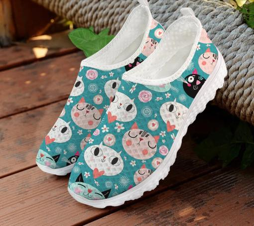 Colorful Cat Themed Mesh Slip On Sneakers Tennis Shoes at The Great Cat Store