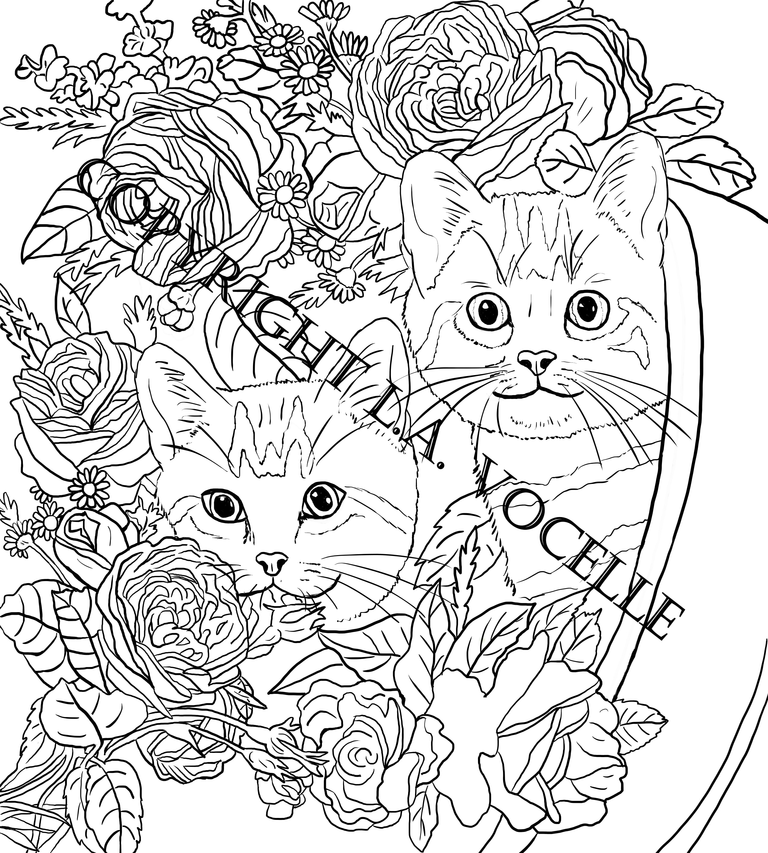 Buy NOW Cats and Flowers Coloring Book Page,Two Kittens in a Pot ...