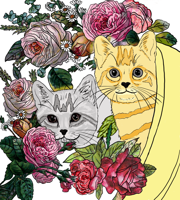 19-Two Kittens in a Pot from Cats and Flowers Coloring Book by LA Vocelle