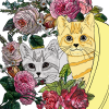 Cats and Flowers Coloring Page 19 Two Kittens in a Pot with Flowers