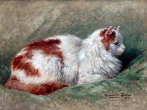Henriette Ronner-Knip: Cat Sitting on Pillow 1904