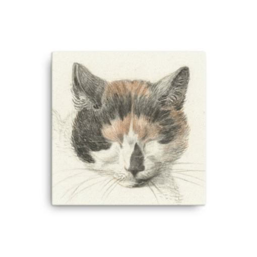 Jean Bernard: Study of a Calico Cat's Head, 18th C., Canvas Cat Art Print