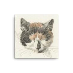 Jean Bernard: Study of a Calico Cat's Head, 18th C., Canvas Cat Art Print