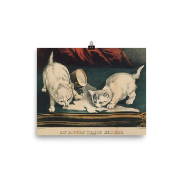 Currier and Ives: My Little White Kitties in Mischief, 1871, Cat Art Poster, 8×10