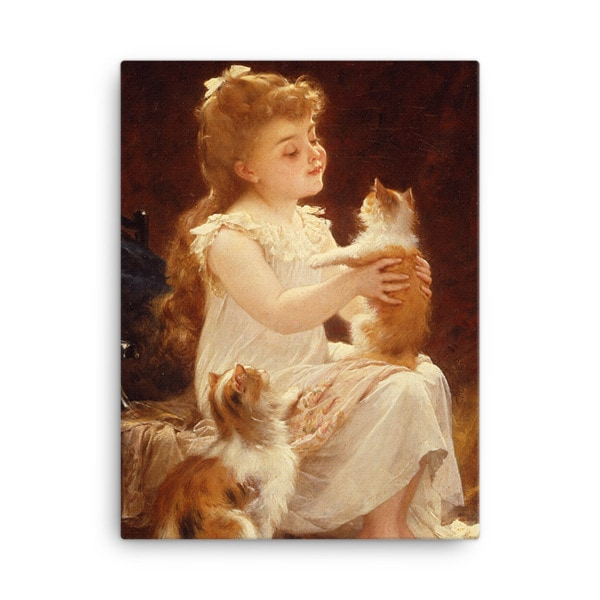 Emile Munier: Playing with the Kitten, 1893, Canvas Cat Art Print 18×24