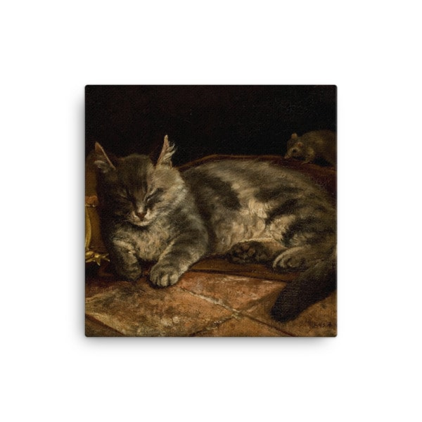 Adolf Von Becker: Sleeping Cat, 1864, Canvas Cat Art Print, 16×16