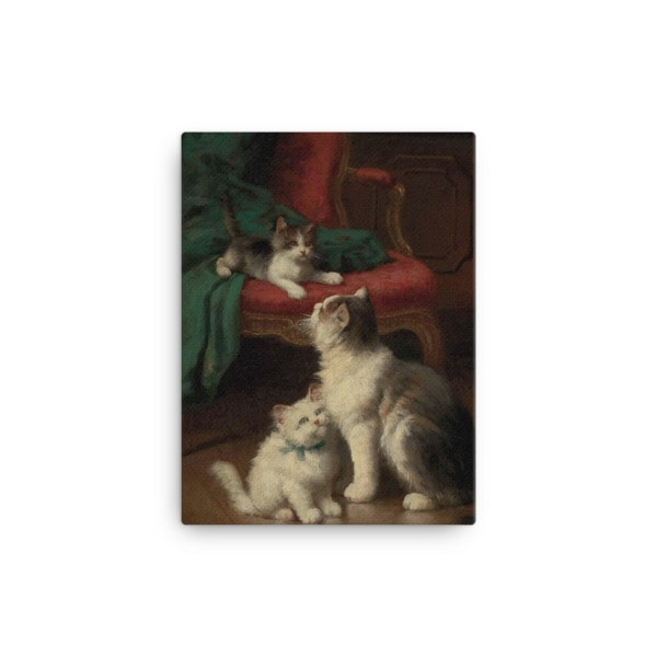 Leon Charles Huber: Mother Cat and Kittens, Before 1928, Canvas Cat Art Print, 12×16