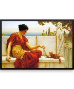 John William Godward: The Tease: 1901, Framed Cat Art Poster