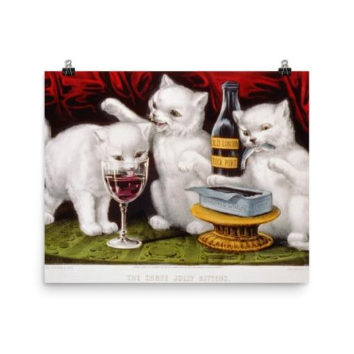 Currier and Ives: Three Jolly Kittens, 1871, Cat Art Poster
