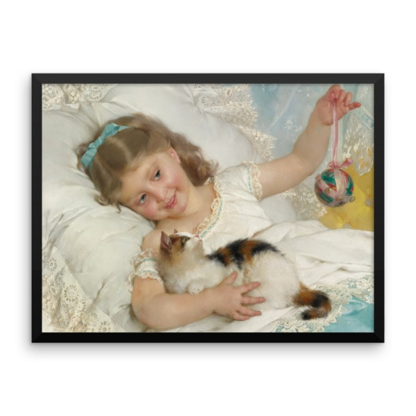 Emile Munier: La Petite Fille et Chat, 1882, Framed Cat Art Poster, 18×24