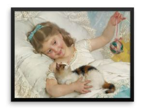Emile Munier: La Petite Fille et Chat, 1882, Framed Cat Art Poster