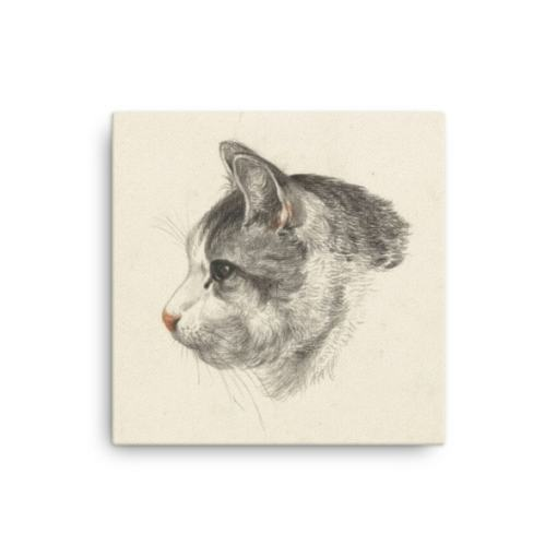 Jean Bernard: Study of a Cat's Head, Canvas Cat Art Print