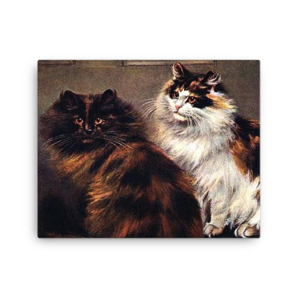 Tortoiseshell Persian cats, after a painting by William Luker (1862-1934), 16×20