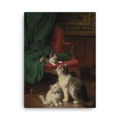 Leon Charles Huber: Mother Cat and Kittens, Before 1928, Canvas Cat Art Print,